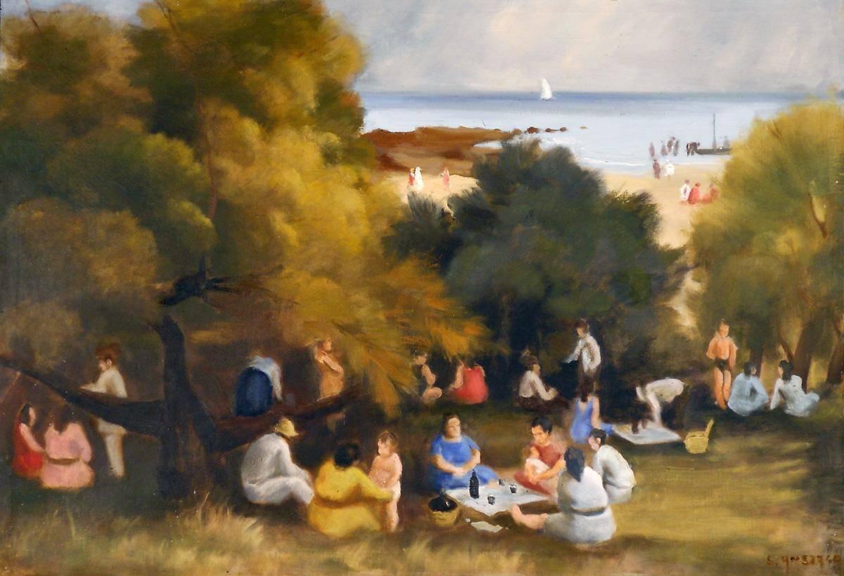 Obra ampliada: En la playa - Eduardo Amézaga