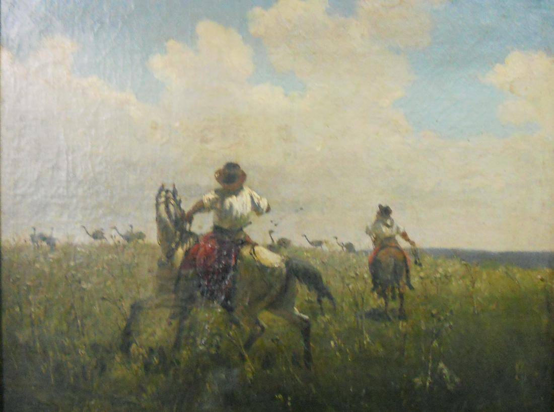 Obra ampliada: Boleando avestruces - Juan Manuel Blanes