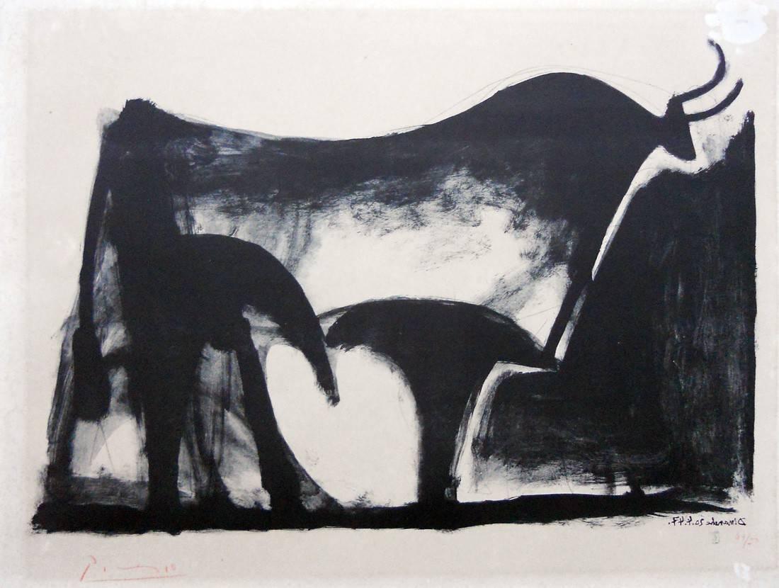 Obra ampliada: Toro negro - Pablo Picasso
