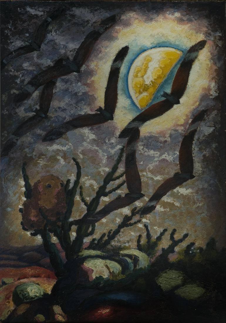 Obra ampliada: Luna y cactus - José Cuneo