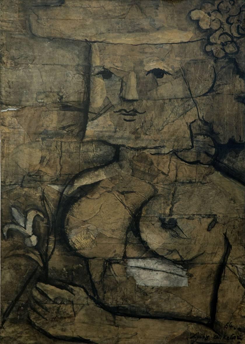 Obra ampliada: Figura y flor - Luis A. Solari