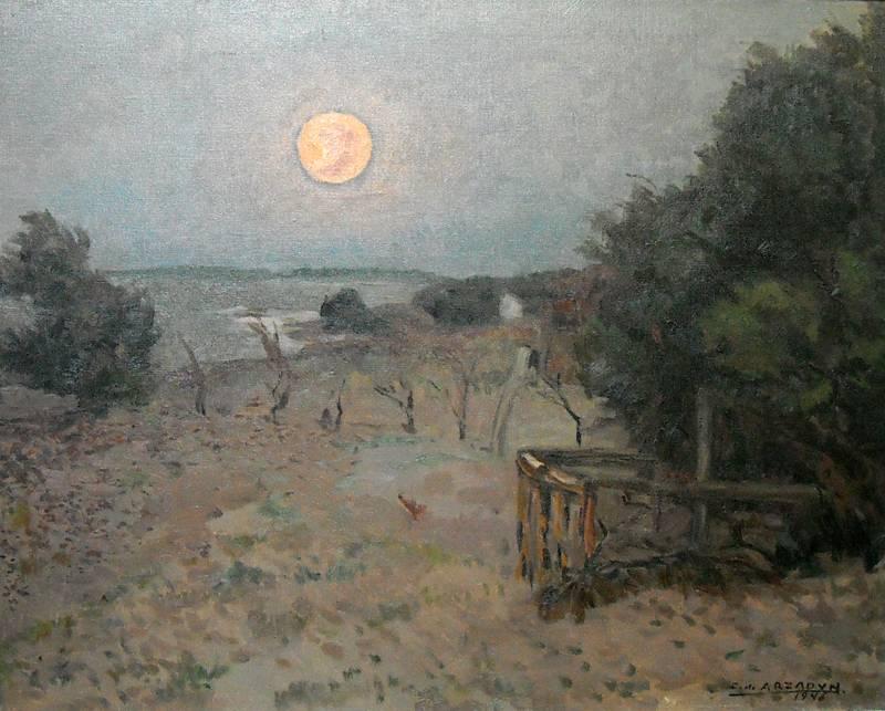 Obra ampliada: Amanecer con luna - Carmelo de Arzadun
