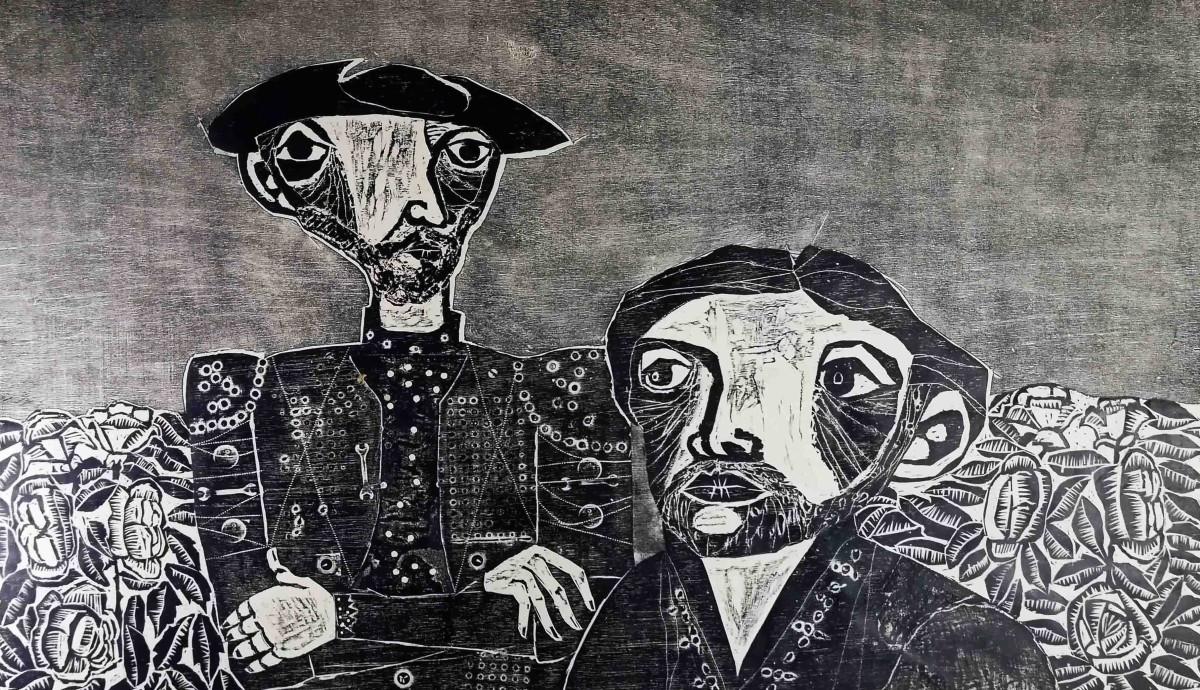 Obra ampliada: Don Quijote y Sancho en el jardín - Miguel Bresciano