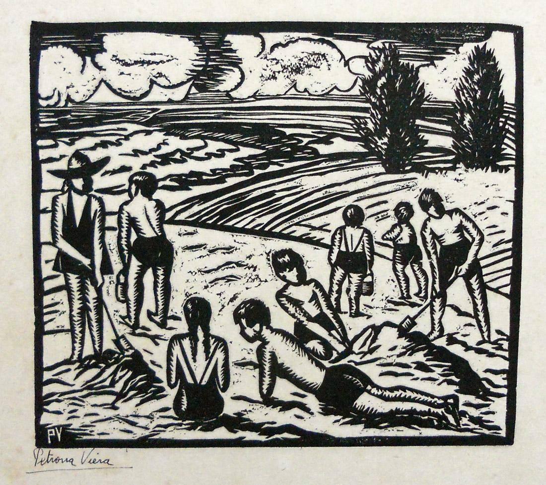 Obra ampliada: Jugando en la playa - Petrona Viera
