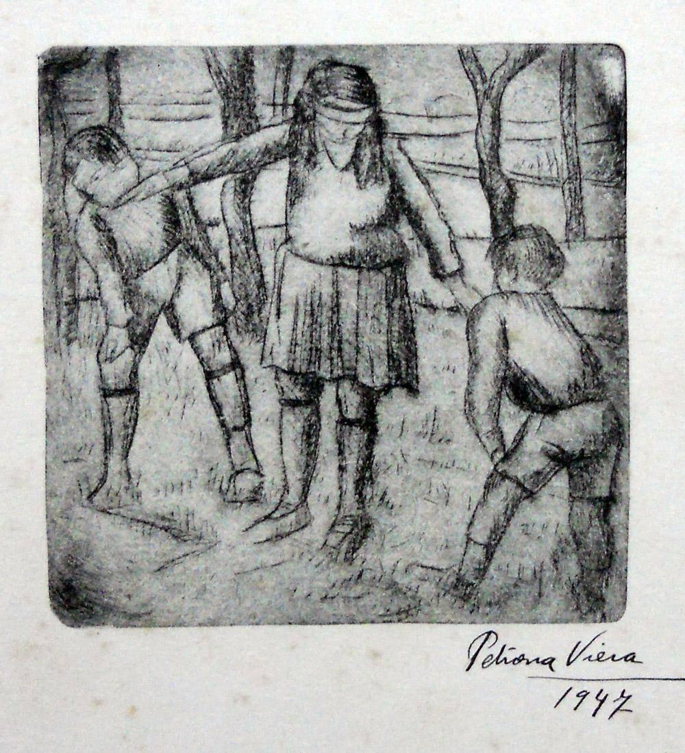 Obra ampliada: Niña ciega gallo - Petrona Viera