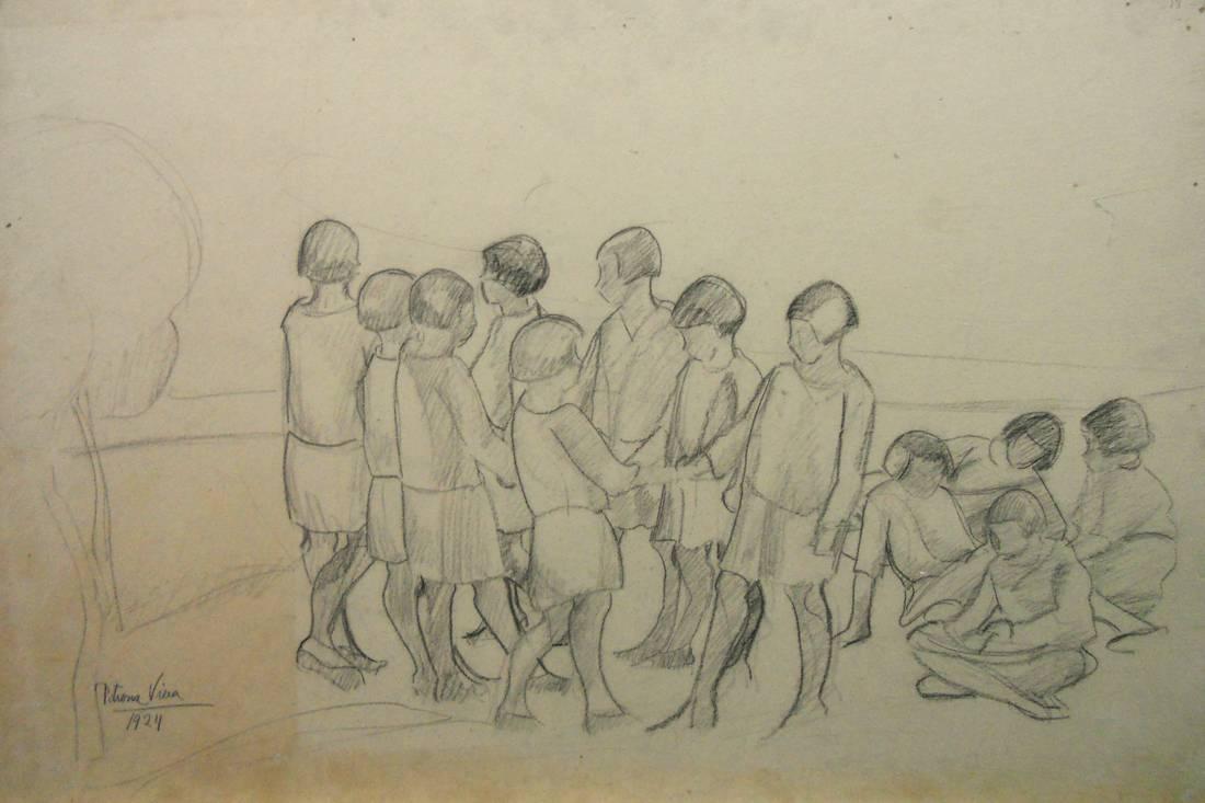 Obra ampliada: Grupo de niñas - Petrona Viera