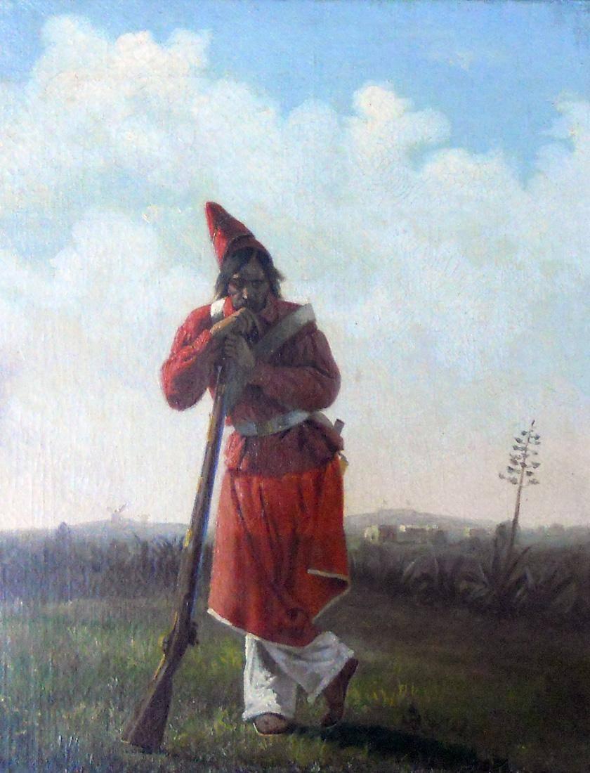 Obra ampliada: Soldado de línea del ejército sitiador - Juan Manuel Blanes