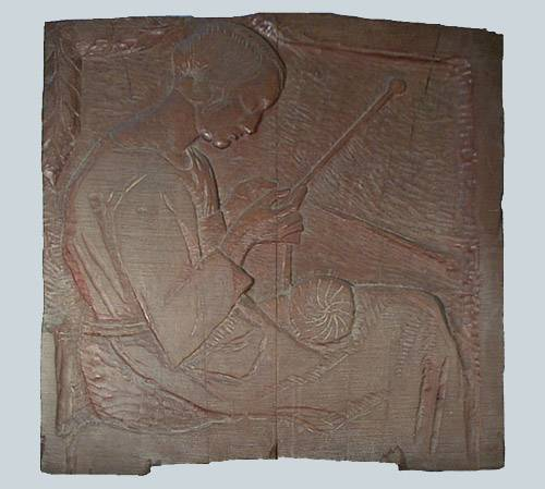 Obra ampliada: Mujer tejiendo - Bernabé Michelena