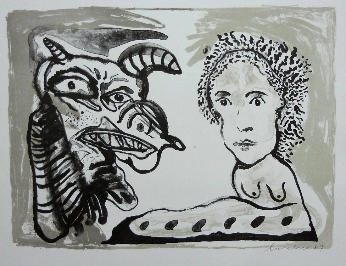 Obra ampliada: Serie de monstruos y muchachas - Lucebert