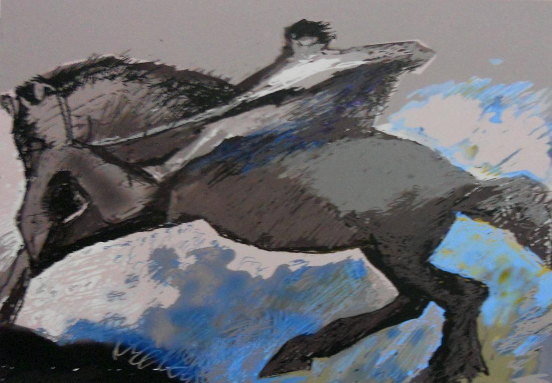 Obra ampliada: Yegua con rejucilo (serie Los Caudillos) - Anhelo Hernández