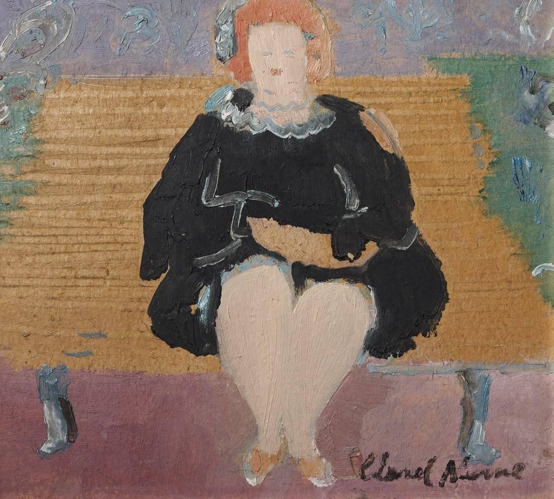 Obra ampliada: Gorda sentada en un banco de plaza  - Clarel Neme