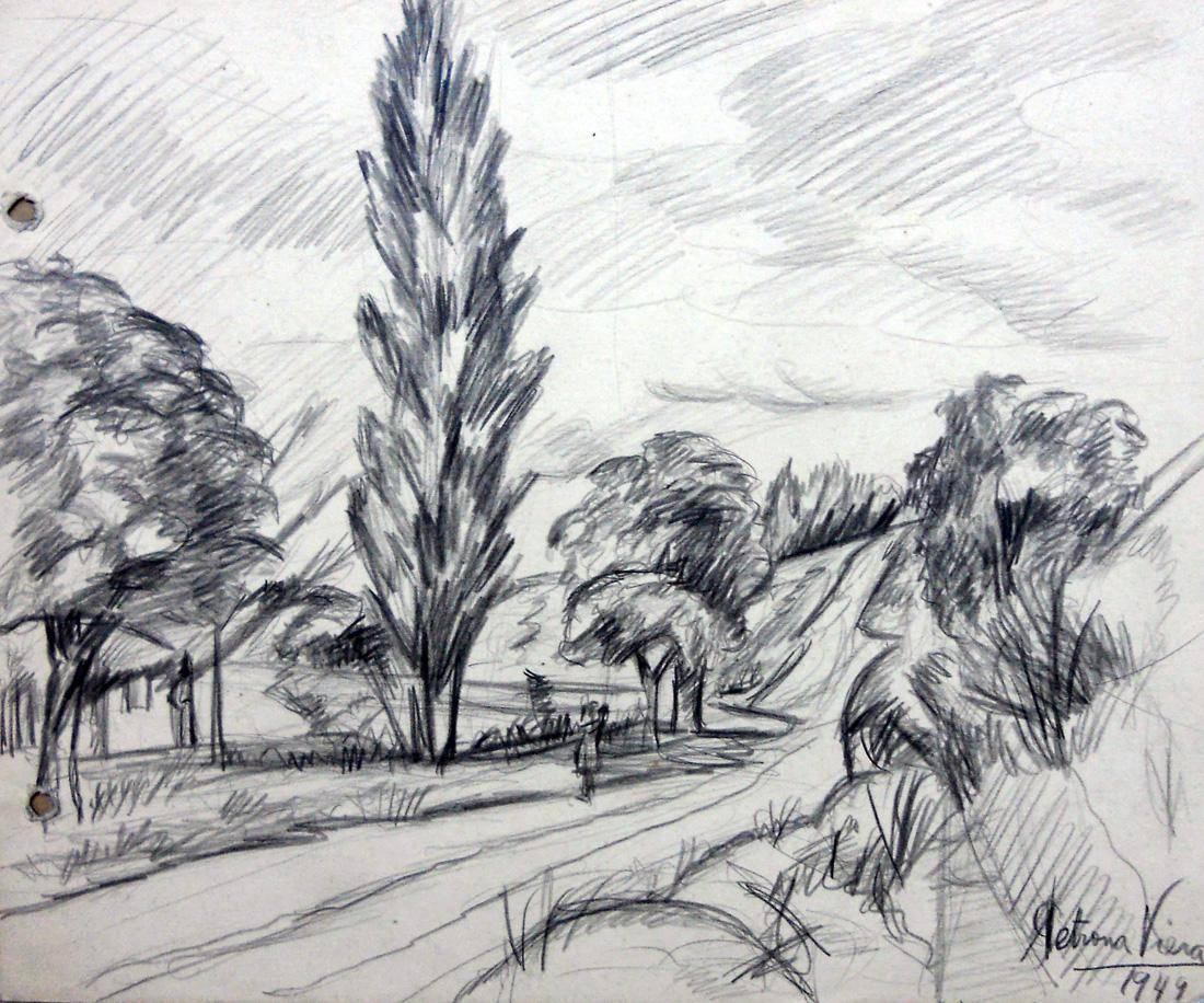 Obra ampliada: Calle, árboles y campo - Petrona Viera