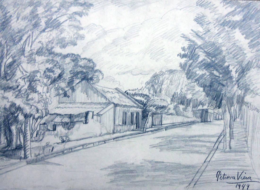 Obra ampliada: Ombú, árboles, calle y cielo - Petrona Viera
