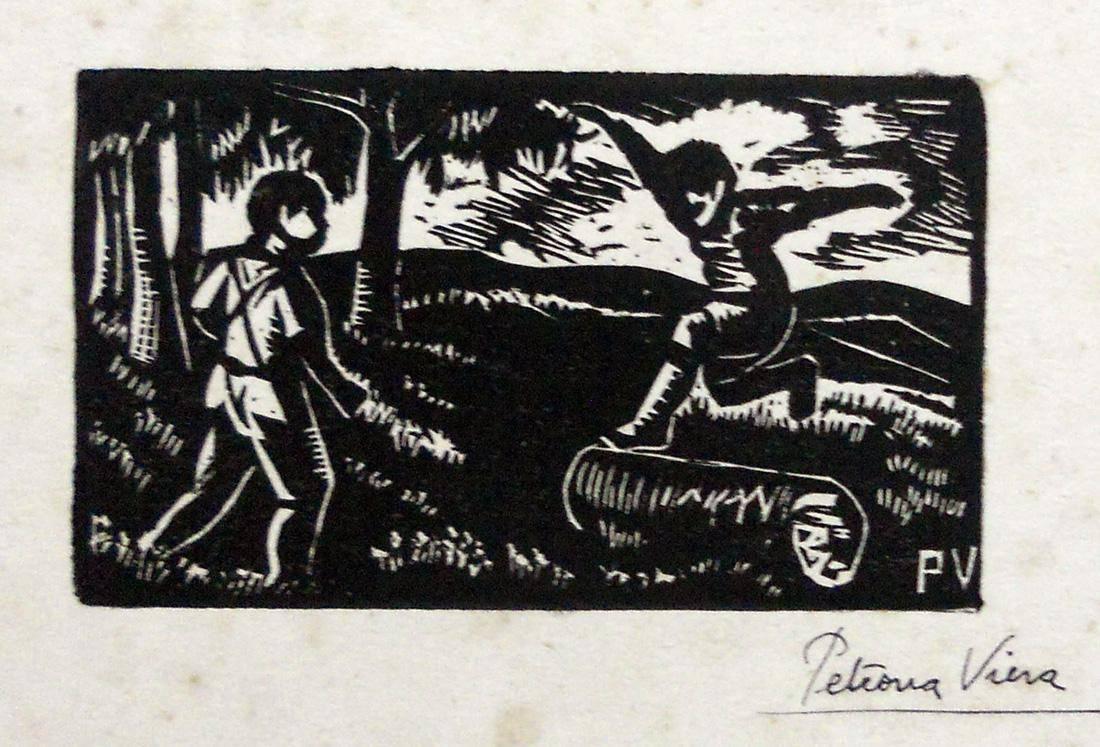 Obra ampliada: Niños saltando un tronco - Petrona Viera