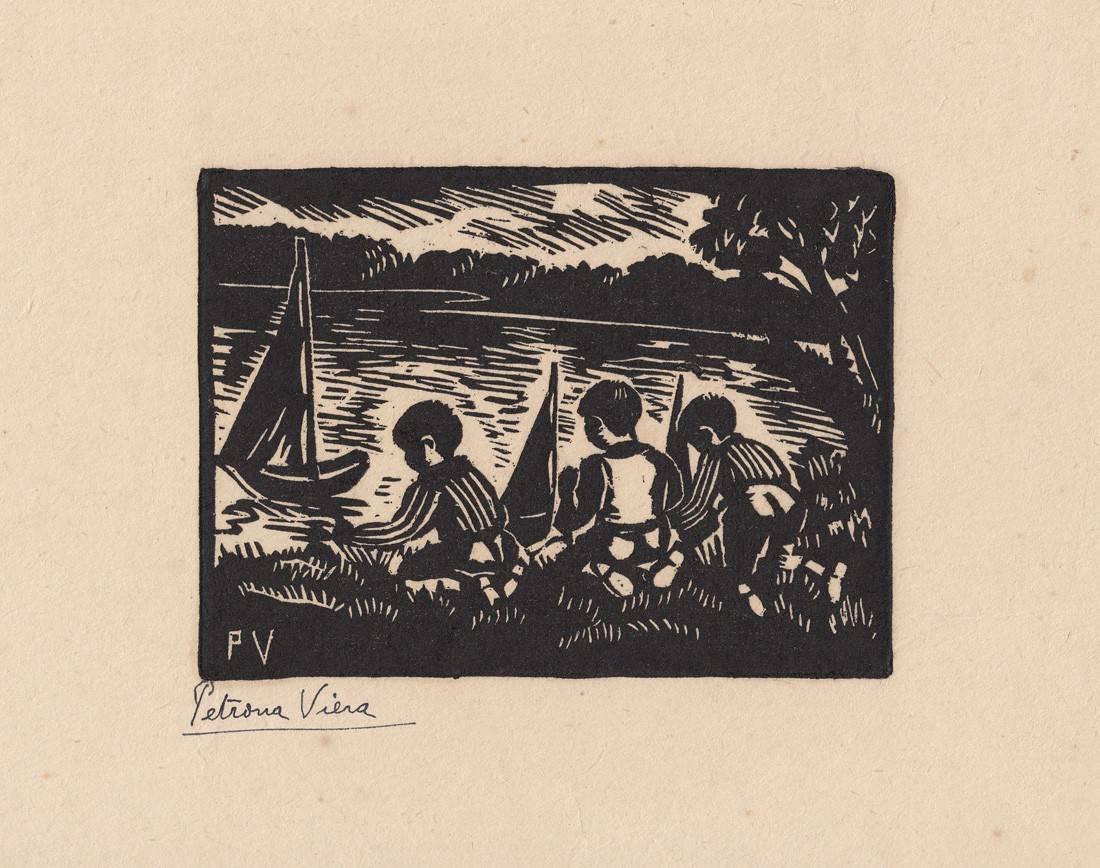 Obra ampliada: Niños con botes - Petrona Viera