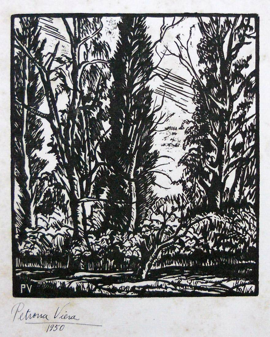 Obra ampliada: Paisaje con árboles - Petrona Viera