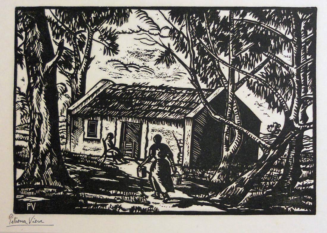 Obra ampliada: Rancho entre árboles - Petrona Viera