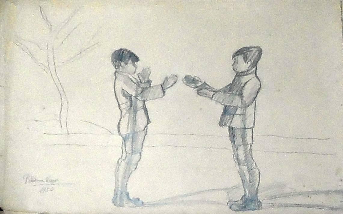 Obra ampliada: 2 niños de pie - Petrona Viera