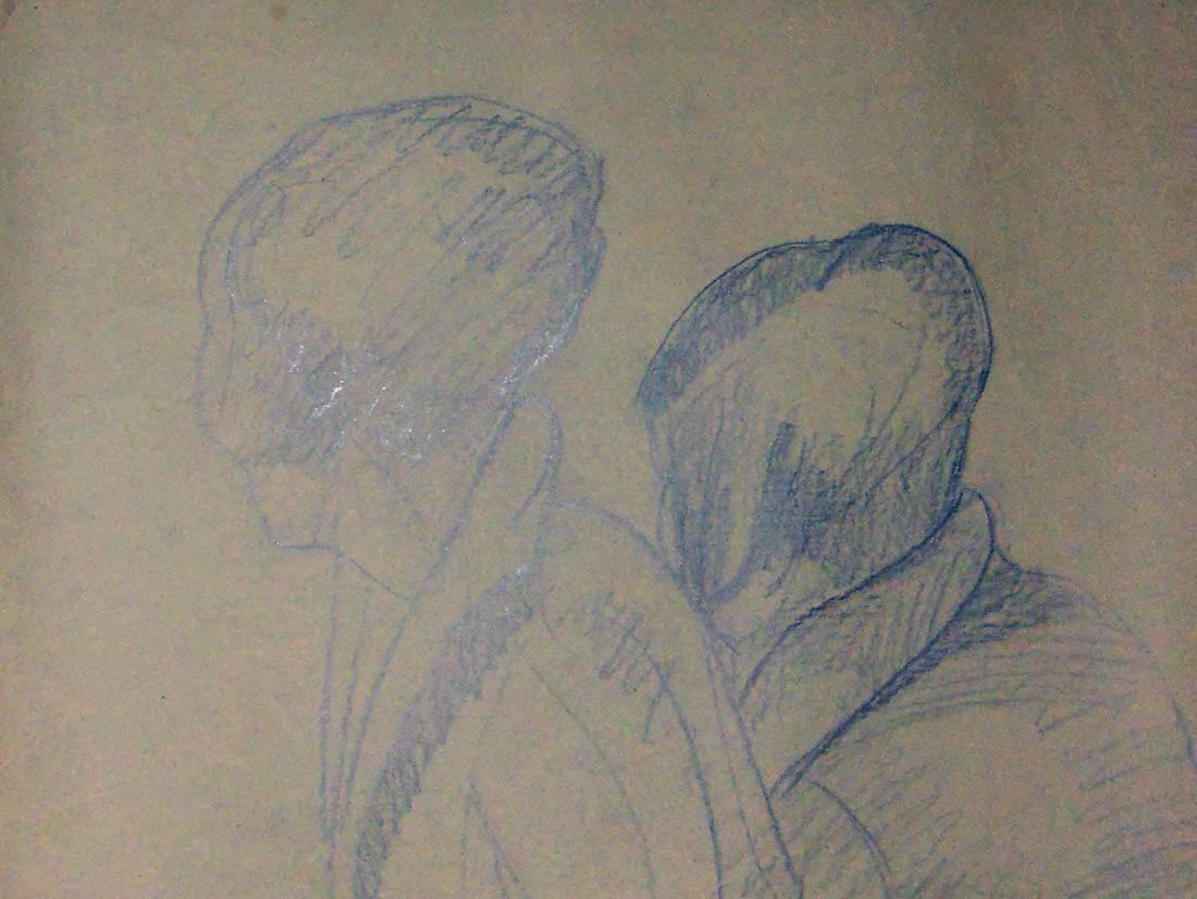 Obra ampliada: Boceto cabezas de mujer - Petrona Viera