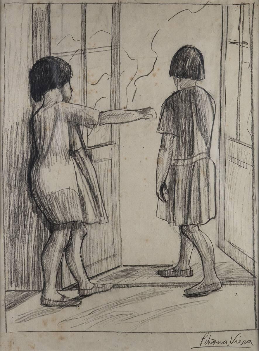 Obra ampliada: Sin título (niñas en la puerta) - Petrona Viera