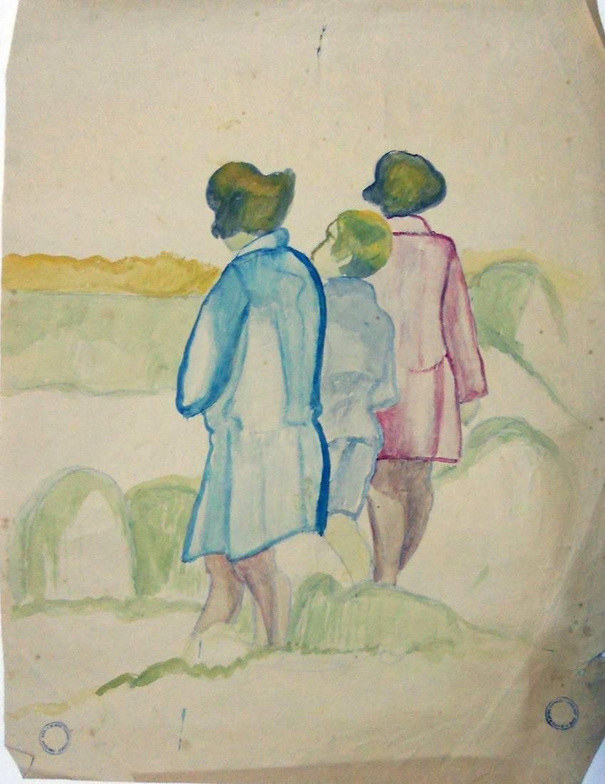 Obra ampliada: Sin título (3 niñas) - Petrona Viera