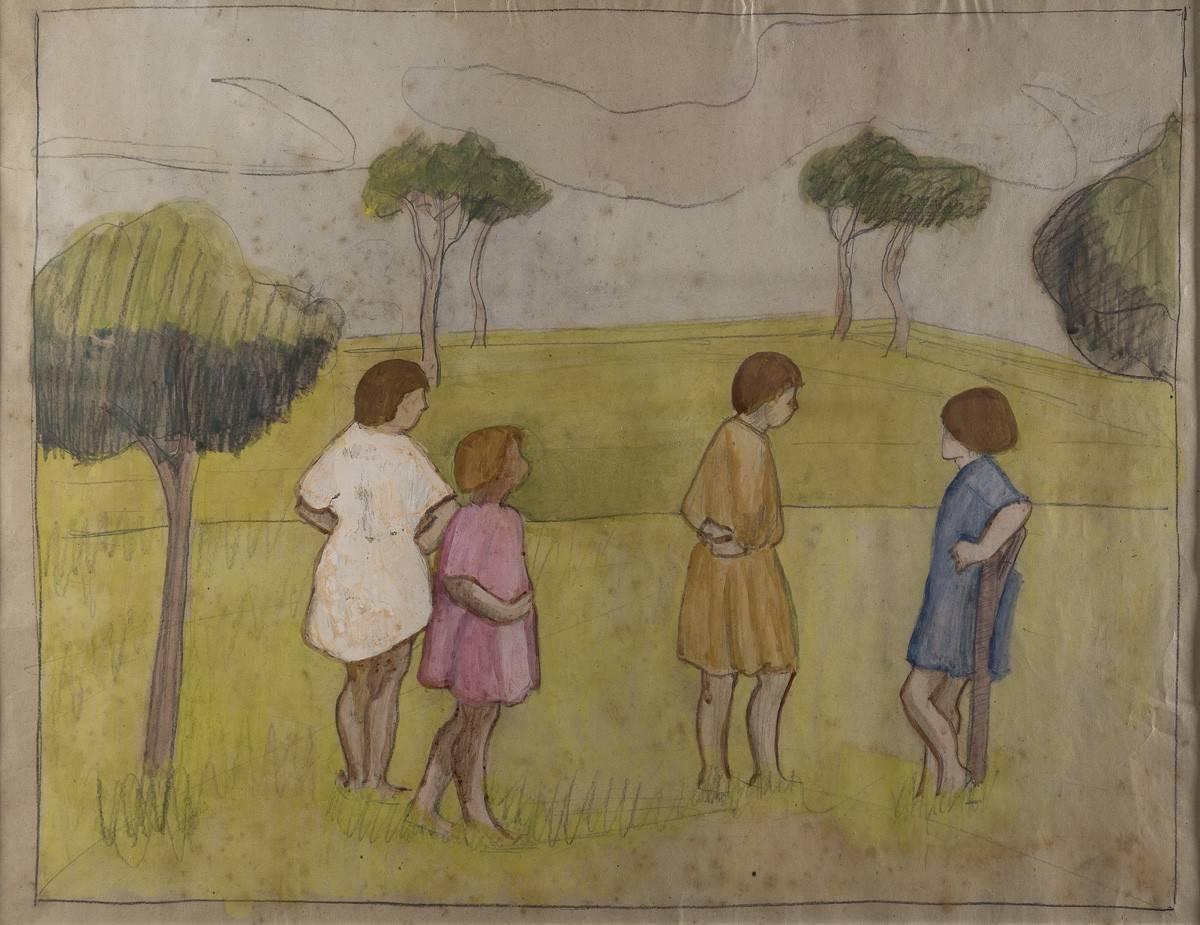 Obra ampliada: Sin título (niñas en el campo) - Petrona Viera