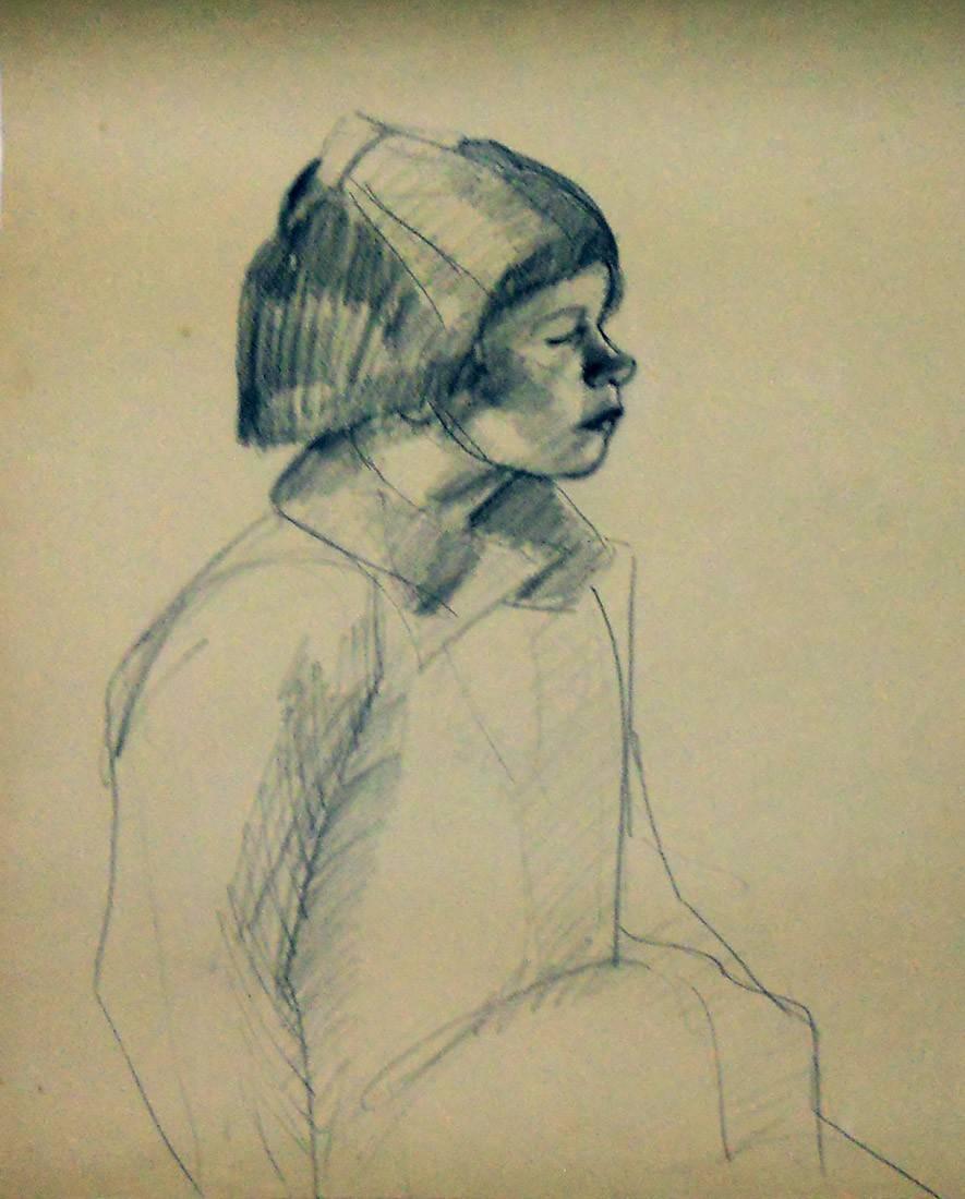 Obra ampliada: Sin Título (torso de niña de perfil) - Petrona Viera