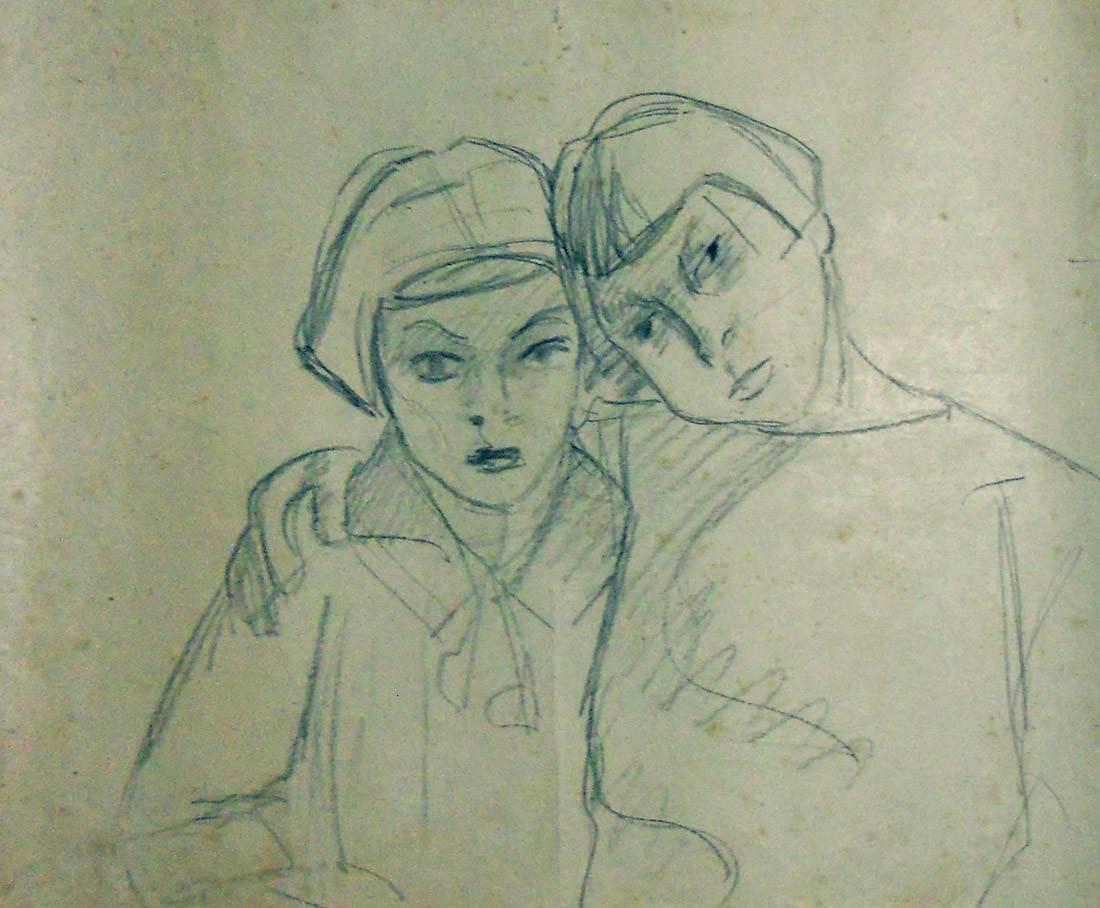 Obra ampliada: Sin Título (torso de 2 niñas de frente) - Petrona Viera