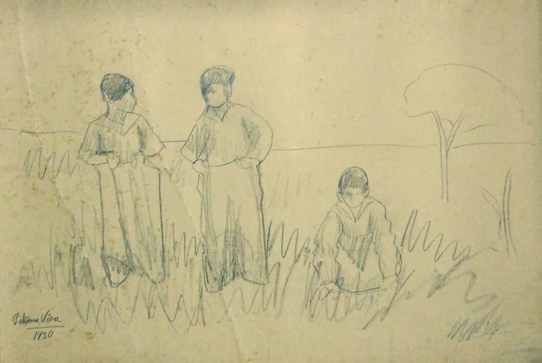 Obra ampliada: Sin Título (3 niños jugando en el campo) - Petrona Viera