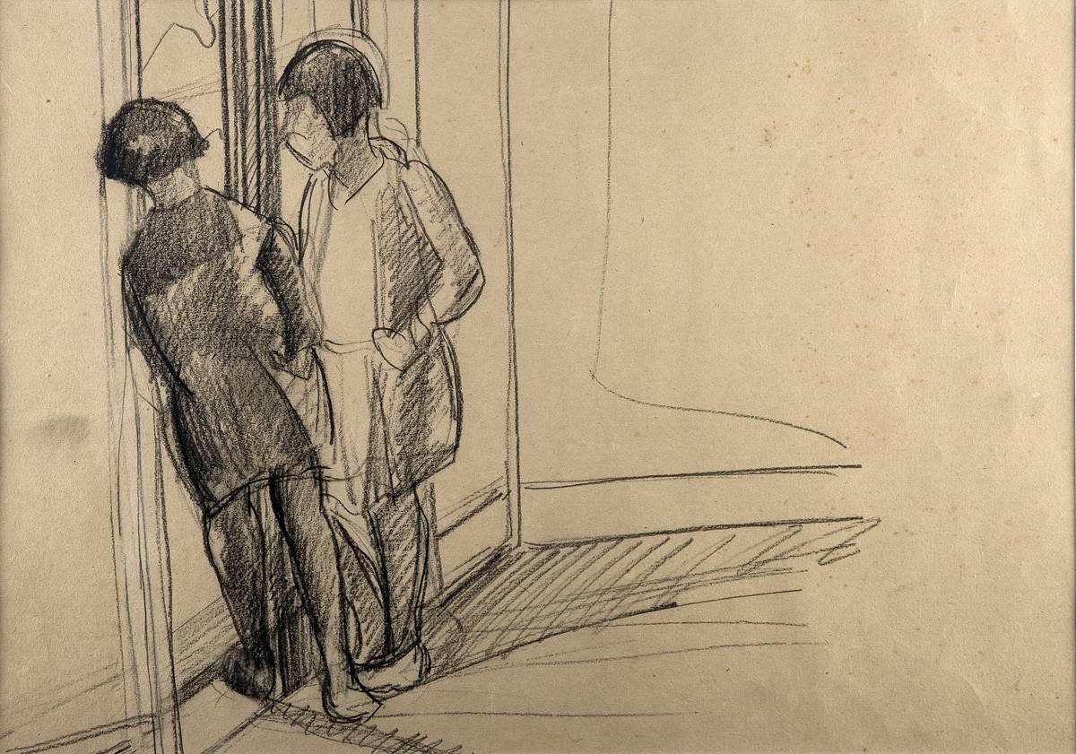 Obra ampliada: Sin Título (2 niñas en la puerta) - Petrona Viera