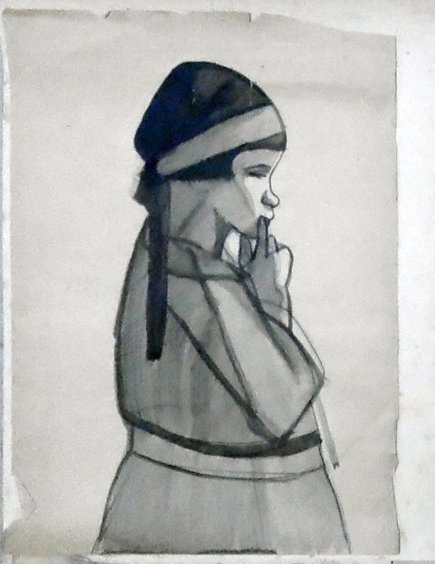 Obra ampliada: Sin Título (niña de perfil) - Petrona Viera