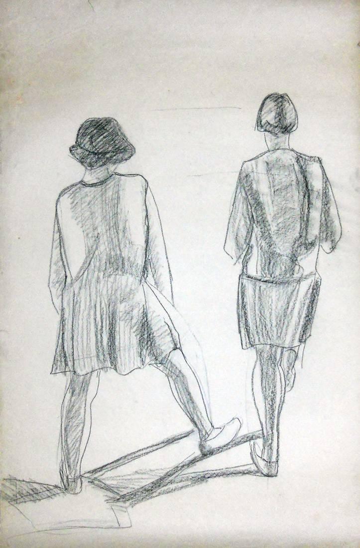 Obra ampliada: Niñas de espalda - Petrona Viera