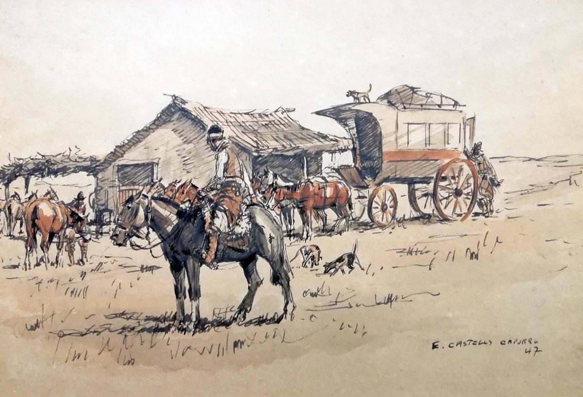 Obra ampliada: Rancho y diligencia - Enrique Castells Capurro