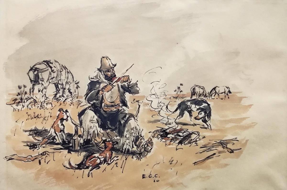 Obra ampliada: Churrasqueando - Enrique Castells Capurro
